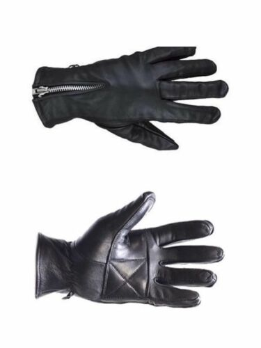Plus Sizes Genuine Leather Black Leather Gloves W Zipper Women Gloves XS