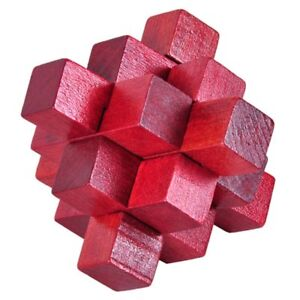 Rompecabezas-logico-cerradura-de-nueve-pasos-rojo-de-madera-Burr-Puzzle-ace-C2M8