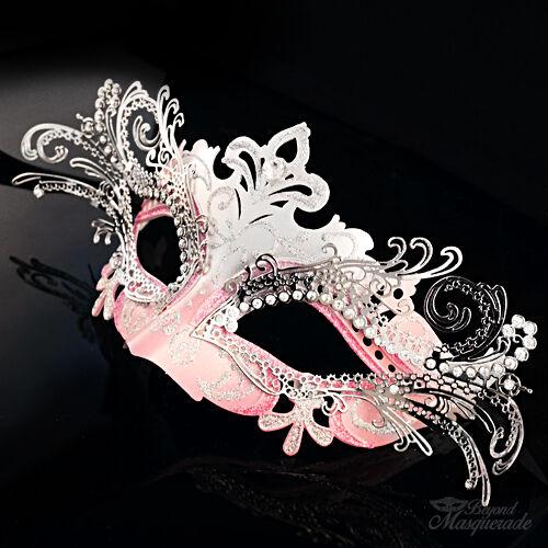 Silver//Pink 3D Laser Cut Mardi Gras Venetian Masquerade Mask for Women