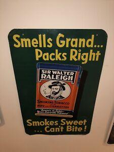 Vintage-Sir-Walter-Raleigh-Embossed-Tin-Sign-Smoking-Pipe-Tobacco-J-V-Reed-amp-Co