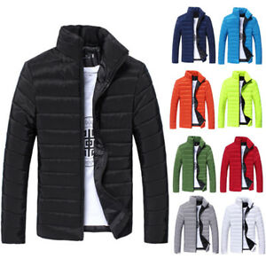 Men-Winter-Solid-Color-Hooded-Thick-Padded-Jacket-Zipper-Slim-Outwear-Coat-Warm