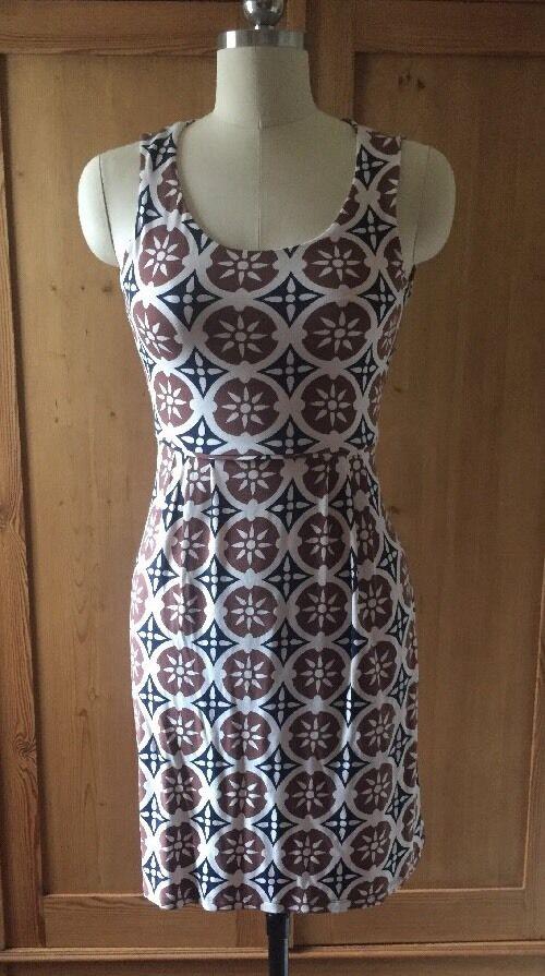 Boden Navy Cream Brown Jersey Sun Dress Size US 2P Or P