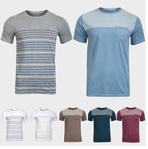 Mens-Dunnes-Chest-Pocket-Soft-Stripe-Short-Sleeves-Summer-Cotton-T-Shirts-XS-XXL