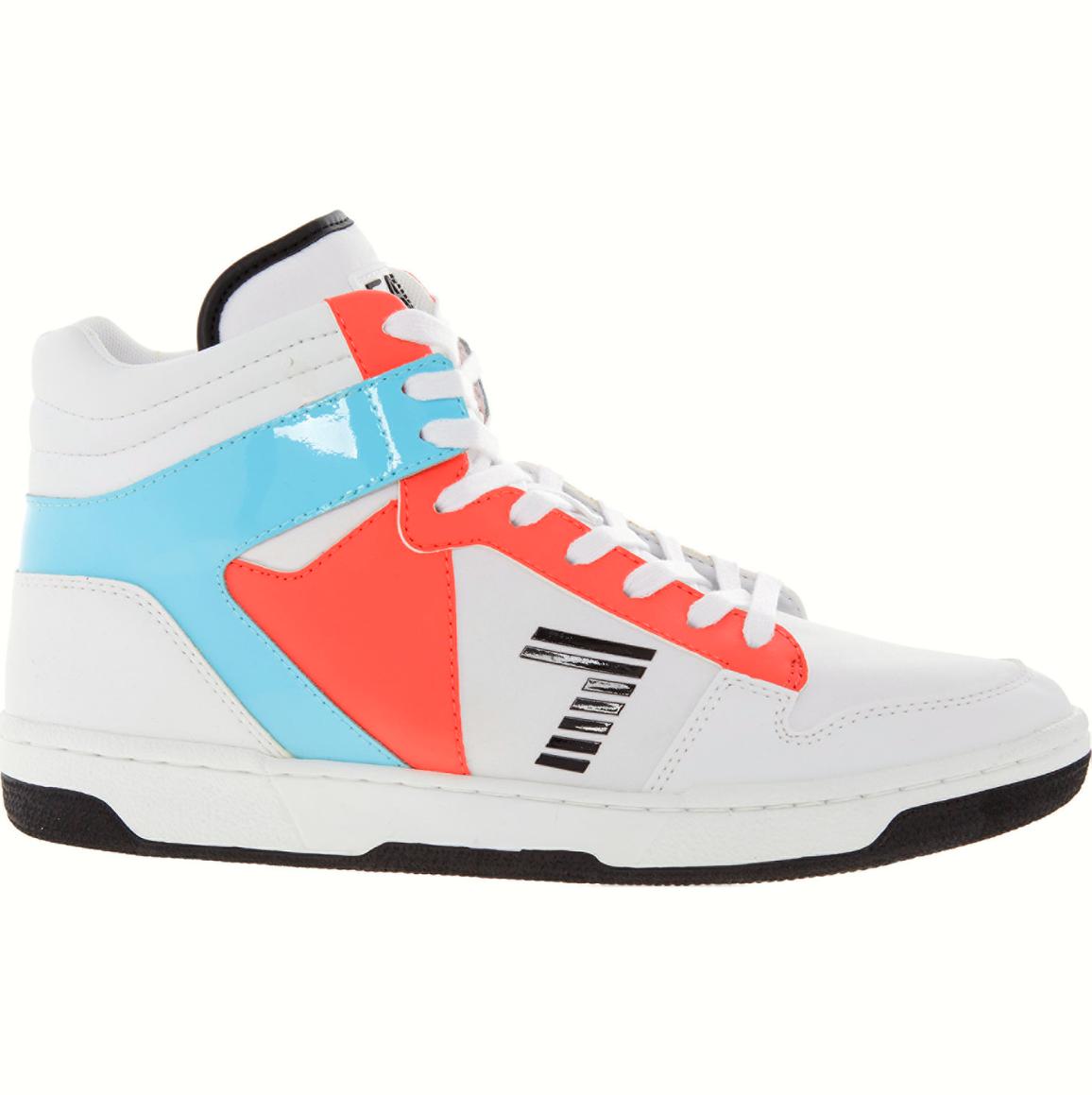 BNIB Emporio Armani Weiß Blau Pink Hi Top Sneaker Trainer Schuhes UK 7 EU 40