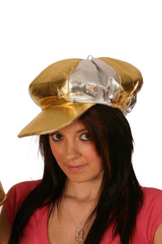GOLD /& SILVER METALLIC 70/'S DISCO COCKNEY PEAKED CAP