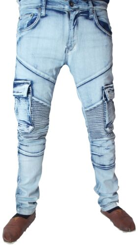 Lavage Motard Jeans Hommes Combat D Blanchie Skinny BO0IqP