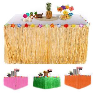 Hawaiian-Luau-Grass-Flower-Table-Skirt-Hula-Moana-Beach-Birthday-Party-Decor
