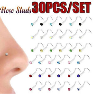 Surgical-Steel-Thin-Gem-Nostril-Hoop-Nose-Piercing-Nose-Ring-Crystal-Screw-Stud