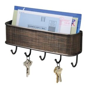 InterDesign Wall Mail Letter Key Holder Hook Rack Hanger Organizer Storage, New