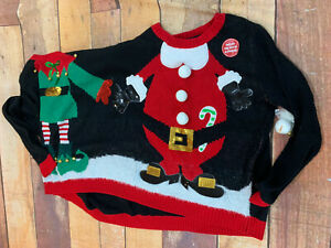 Christmas-Holiday-2-Person-Sweater-Double-Ugly-Size-Small-New-NWT-Santa-Elf