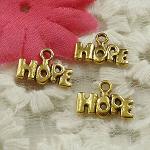 #4636 Free Ship 210pcs gold plated Hope charms 13x9mm