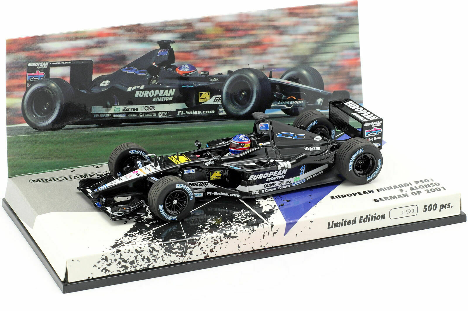 1 43 Minichamps Fernando Alonso Minardi PS01 2001 German Grand Prix F1