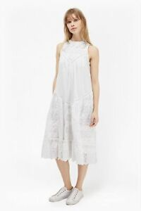 French Connection Womens Dress Clementine Eyelet Lace Midi Dress White