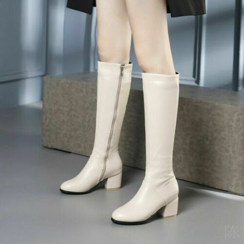 Ladies Riding Boots Block High Heels Knee High Boots Chunky Zip Shoes Plus Size