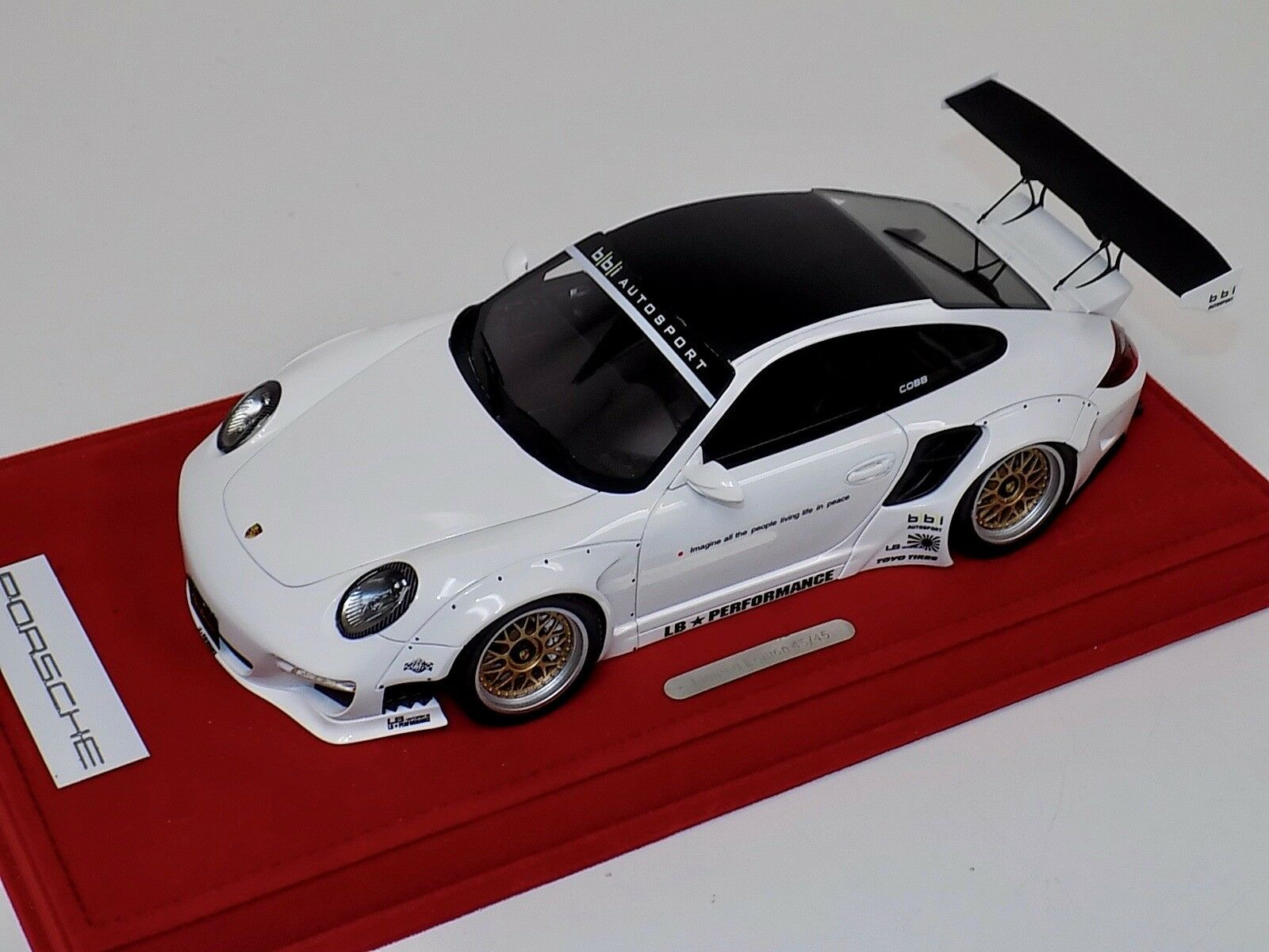 1/18 AB Models Porsche 911 Liberty walk LB Performance bianca Decals 04A