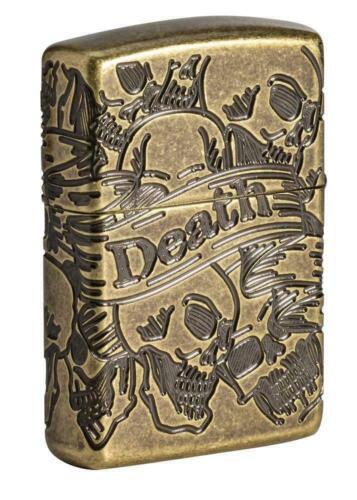 New In Box Zippo Armor Windproof Multi Cut Freedom Skull Design Lighter 49035