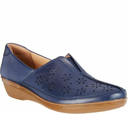 Clarks Womens Leather Perforated Slip-ons Everlay Dairyn $85 TINI {/&}