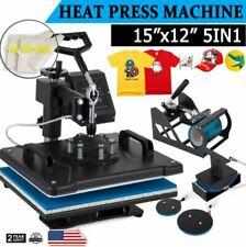 New Listing5 In 1 Heat Press Machine Swing Away T Shirt Mug Hat 12x15 Digital Transfer