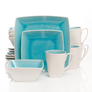 Image is loading 16-Piece-Dinnerware-Set-Turquoise-Square-Stoneware-Plates-  sc 1 st  eBay & 16 Piece Dinnerware Set Turquoise Square Stoneware Plates Dishes ...