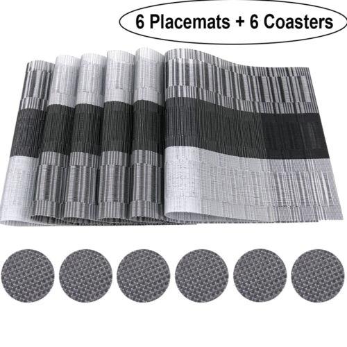 6 Platzsets Platzdeckchen Untersetzer Hitzebeständig Bambus Schwarz Tischset PVC
