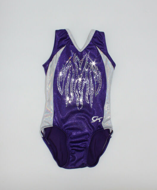 GK ELITE Gymnastics Leotard Size CS Child Small Purple White Shiny Sequinz