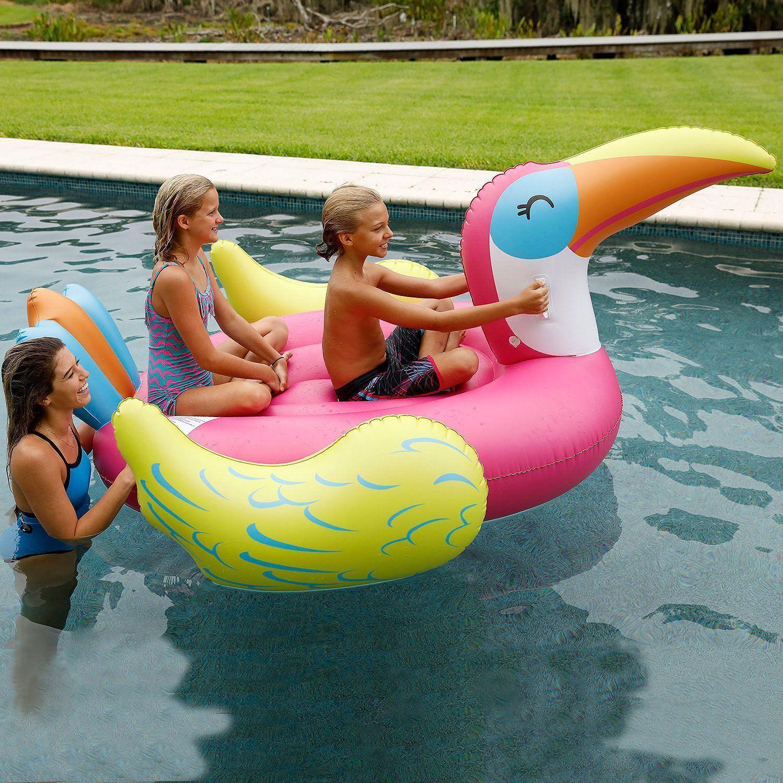 Inflable Mega Toucan 2 persona Ride isla flotador piscina lago Lounge Juguete