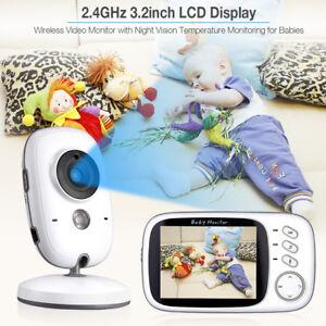 "Video Baby Monitor Camera 2-Way Talk 3.2"" Digital Wireless Night Vision LCD Play"