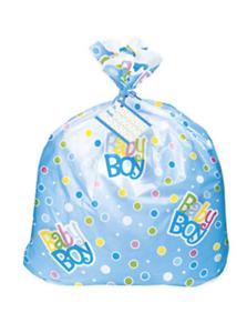 Baby Shower Boy Giant Blue Plastic Gift Basket Bag 91.4cm x 111.7cm