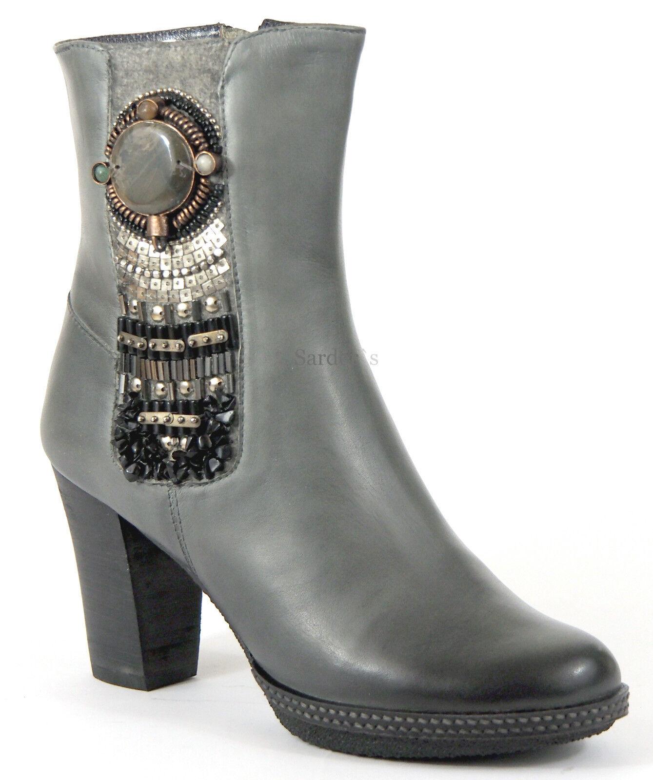 XYXYX Stiefelette 38 Nappa LEDER grey Used Boots Plateau Heels Schuh Schmuck NEU