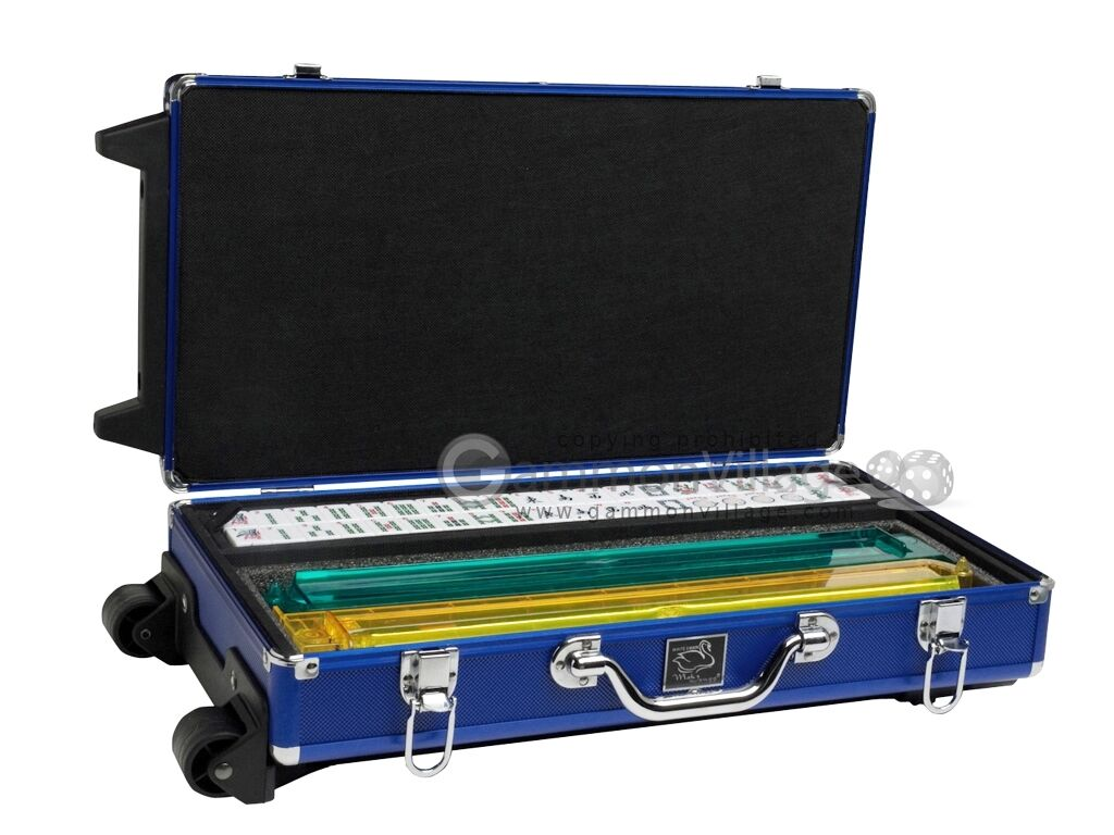 American Mahjong Set (Modern poussoirs-Roues En Aluminium Case-Blanc Carreaux) bleu
