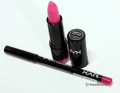 NYX Round Lipstick + Slim Lip Liner Set-Hot Pink