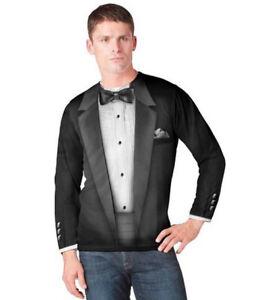 Adult-Men-039-s-Black-Faux-Costume-Bow-Tie-Tuxedo-Suit-Long-Sleeve-T-shirt-Tee