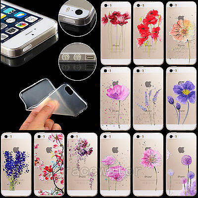 Thin Soft Silicone TPU Flower Pattern Transparent Case Cover for iPhone 4S 5S 6S