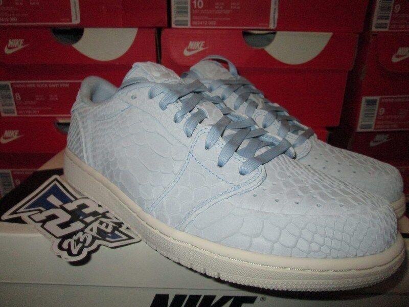 AIR JORDAN I 1 RETRO LOW NS SWOOSHLESS ICE BLUE WHITE 872782 441 SNAKESKIN
