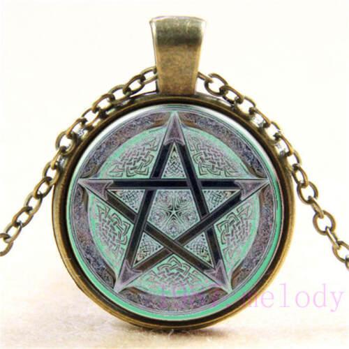 648 Vintage cabochon verre collier bronze Charme Chaîne Pendentifs : Wicca Pentagramme