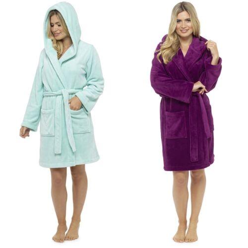 Womens Follow That Dream Short Hooded Fleece Dressing Gowns with Hood Mint Plum