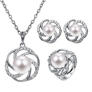 Fashion-Imitation-Pearl-Crystal-Jewelry-Set-Necklaces-Earrings-Rings-Women-ch