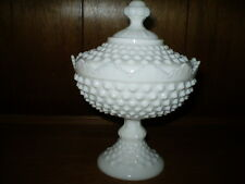HOB NAIL WHITE MILK GLASS PEDESTAL CANDY DISH/LID-DISPLAYED ONLY-MINT CONDITION