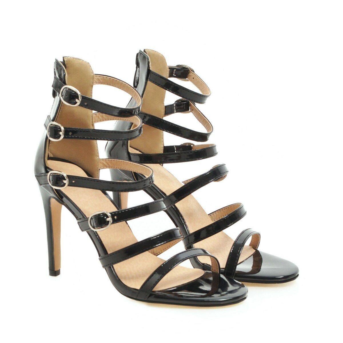 Damen Reißverschluß Sommer Schnalle Stilettos High Heels Gr.34-48 Sandaletten
