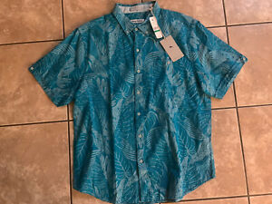Tommy Bahama Camp Shirt Firenze Fronds Aqua Blue T322527 New Large L
