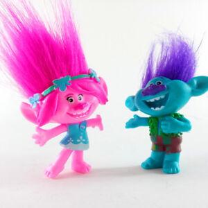 2pcs/set Trolls Poppy Branch PVC figurine figure Kids Doll Gift Collectible Toys