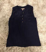 BANANA REPUBLIC Navy Blue Silk Gold Button Up Top Tee Shirt Blouse Petite S