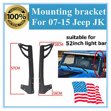 "For 52"" LED Light Bar 07-15 Jeep Wrangler JK Steel Windshield Mounting Brackets"