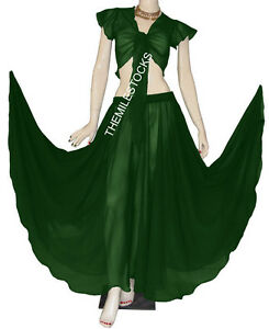 TMS WHITE Full Circle Skirt Belly Dance GYPSY Costume Long Dress JUPE ORIENTALE