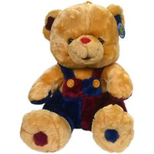 Teddy Teddybär Stofftier 35 cm Plüschbär Plüsch Kuscheltier bunte Latzhose