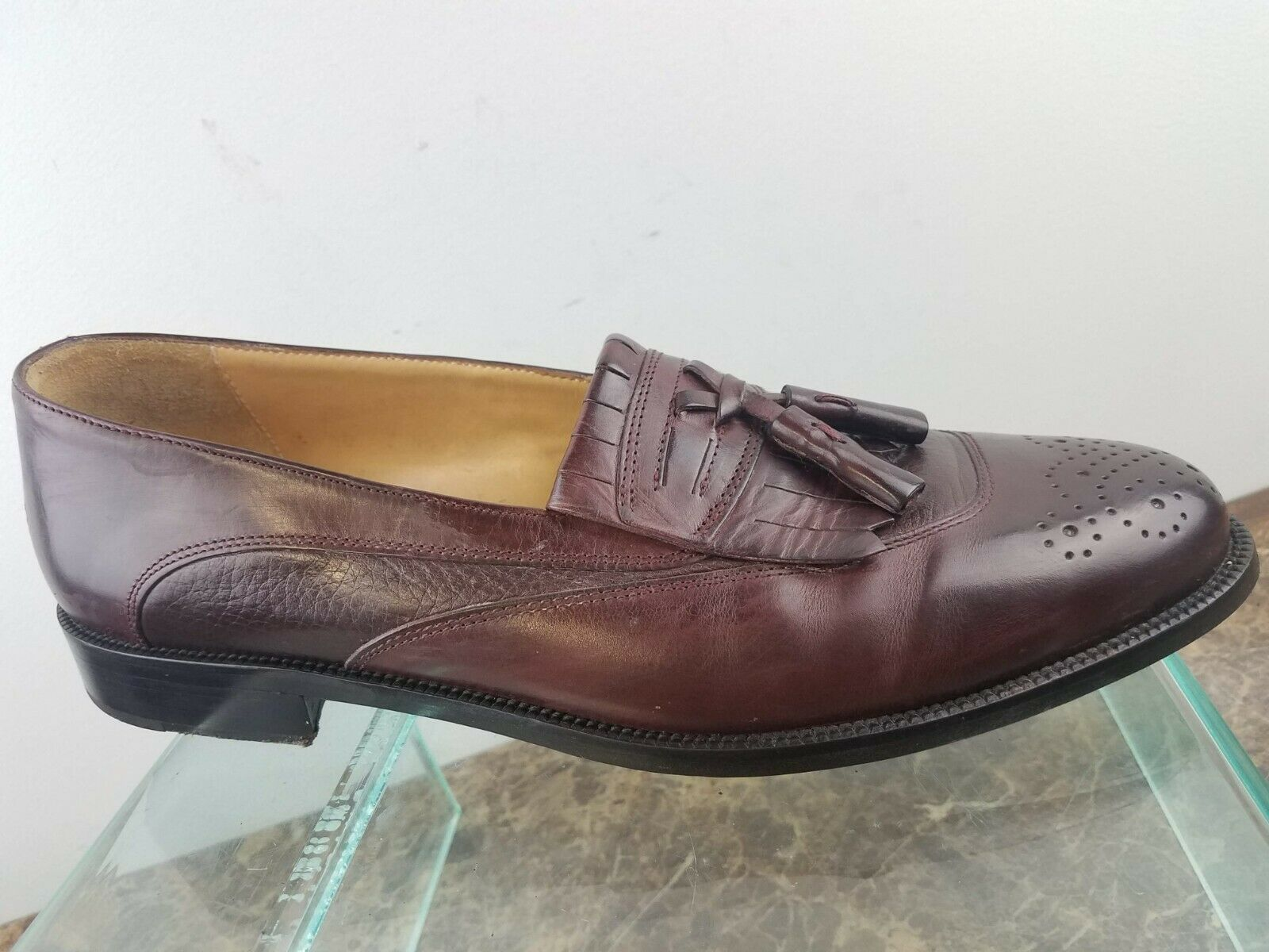 Johnston Murphy  Cellini Burgundy Leather Slip-On Tassel Loafers Mens 9.5M