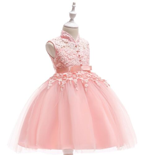 Children Girls Formal Button Embroidered Lace Flower Ribbon Bow Tutu Dress ZG8