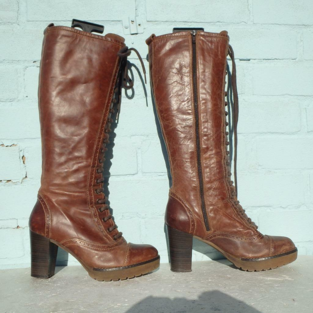 Bertie Leather Boots Size Uk 4 Eur 37 Platform Distressed Lace up Brown Boots