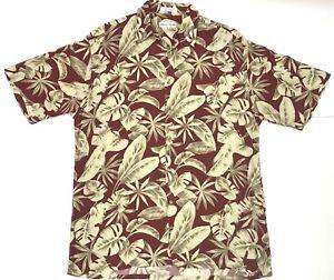 Pierre-Cardin-RAYON-Short-Sleeve-Button-Up-Hawaiian-Camp-Shirt-Aloha-Men-039-s-M