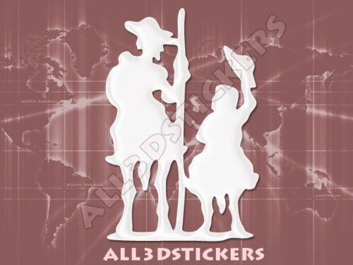 Pegatina Don Quijote y Sancho Panza 3D Relieve Color Blanco